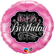 Birthday Pink & Black Balloon