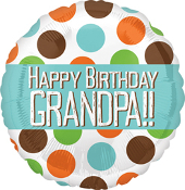 Birthday Grandpa Polka Dots Balloon