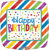 Birthday Square Stripes & Dots Balloon