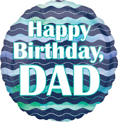 Birthday Dad Watercolor Waves Balloon